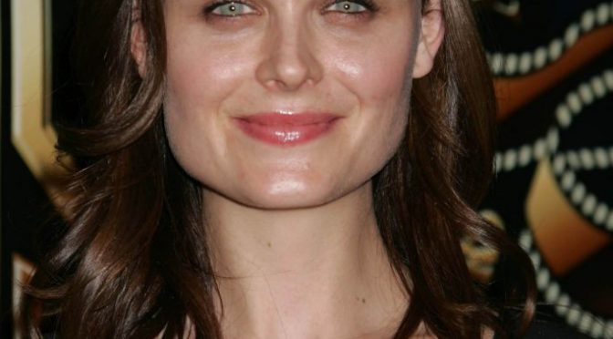 Chesty Brunette Emily Deschanel Displaying Her Boobs in a Sexy Dress